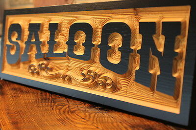 Old West Saloon Sign Bar Personalized Custom Carved Wood Signs Routed Rustic