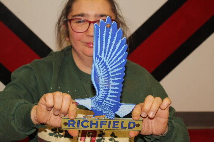 Richfield Gasoline Motor Oil Gas Station Porcelain Metal Sign - $135.15