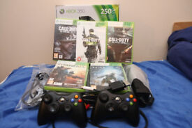 Xbox 360 250GB+ 5 games (3COD,Titanfall,Halo 4) with 2 controllers, in very good condition