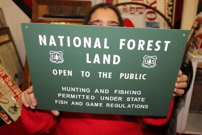"Vintage c.1960 National U.S. Forest Land Fishing Hunting Gas Oil 15"" Metal Sign"