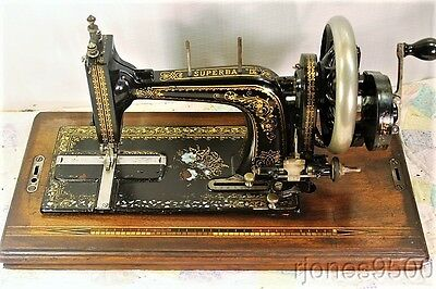 *SUPERBA D*HAND CRANK SEWING MACHINE*1890s*GERMAN*