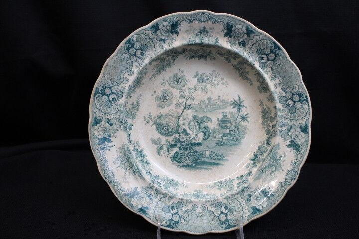 Mid-19th Century RMW & Co. JAPAN FLOWERS Stafforshire Transferware Soup Bowl