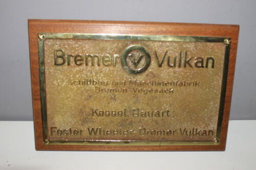 Vintage Ship/Engine Builder Brass ORIGINAL Plaque/Plate BREMER VULKAN