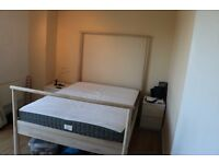 IKEA GJORA DOUBLE WOODEN BED FRAME & MORGEDAL MATTRESS
