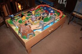 playmobil wooden train set as new