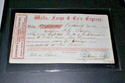 #CHK179,RARE Rattlesnake CA Wells Fargo Receipt 1855 Unique Item