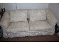 sofa bed beige, floral pattern