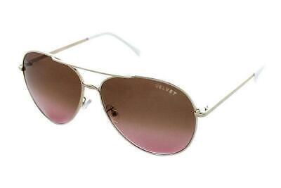 Fade Frame Gold Lens (Velvet Eyewear Preacher Gold Frame / Brown Fade Lens Aviator Sunglasses NWT)