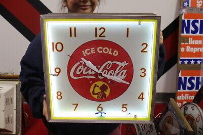 "Vintage 1940's Coca Cola Soda Pop Gas Station 15"" Neon Lighted Clock Sign WORKS"