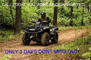 3 DAY SALE ON ALL ATVS, GREAT DEALS GIVE US A CALL TODAY