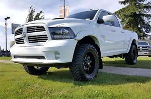 2016 RAM 1500 SPORT QUAD LIFTED, FLARES, RIMS & TIRES !!