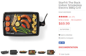 Starfrit The Rock Indoor Smokeless Grill  - New in Box