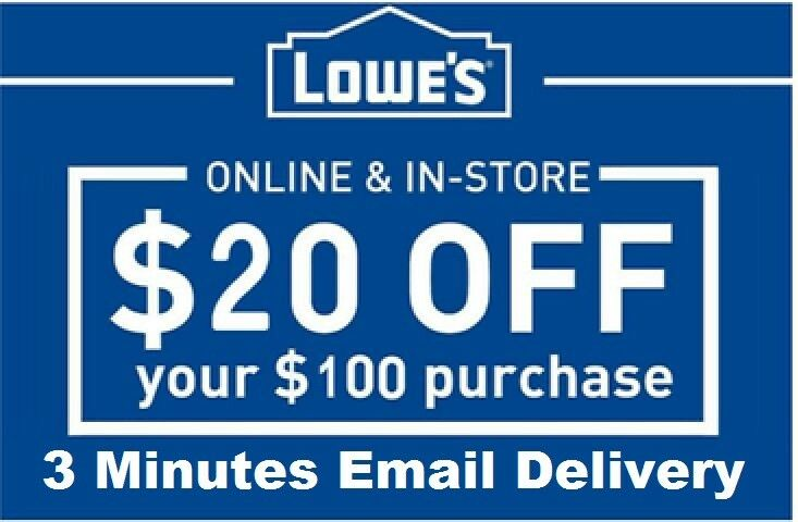 Купить Three 3x Lowes $20 OFF $100Coupons-InStore and Online -Fast-Delivery----