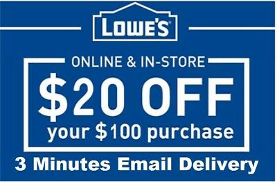Five 5x Lowes $20 OFF $100Coupons-InStore and Online -Fast-Delivery----