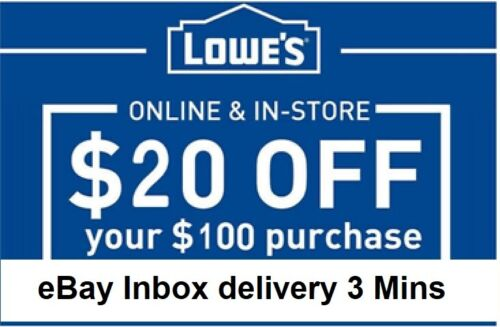 3x~~THREE Lowes $20 OFF $100Coupons-InStore and Online -FAST-3-mins-SEND~~~