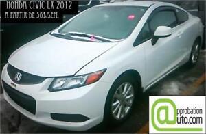 2012 Honda Civic Coupé LX, À PARTIR DE 56$/SEM. 100% APPROUVÉ !