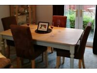 Wood dining table & 4 brown suede high backed chairs