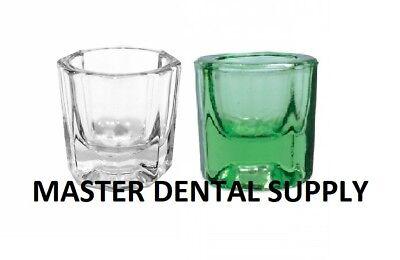 2 Dental Lab Glass Dappen Dish Green - Clear Acrylic Holder Art Nail Crystal Cup