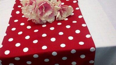 RED POLKA DOT Table Runner, White dots,72