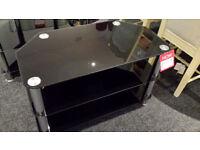 3 tier black glass chrome legs tv stand