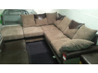 Brand new emerald jumbo cord fabric corner sofa