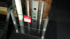 Ex-display Clear/grey toughened glass 3 tier tv stand