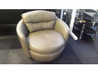 Ex-display grey soft leather swivel cuddle chair white stitching