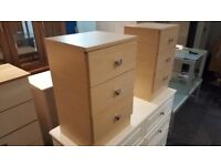 3 DRAWER QUALITY MAPLE VENEER BEDSIDE CABINETS (2 AVAILABLE)