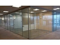 USED TOUGHENED GLASS OFFICE PARTITIONS WITH GLASS DOORS IN VICTORIA, LONDON SW1E FOR £100 PER METRE