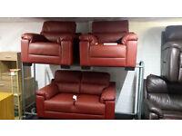 Ex-display red leather 2+1+1 sofa set