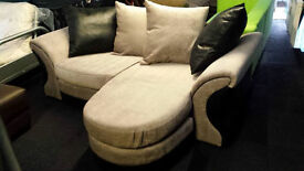 New CLEARANCE cream fabric/suede left/right corner sofa