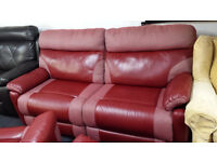 Ex-display SCS red fabric/endurance leather 3 seater electric recliner with USB port