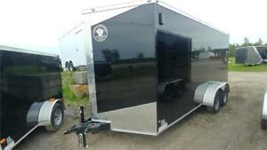 NEW 7X16 V-NOSE HEAVY DUTY ENCLOSED TRAILERS W/ 5200LBS AXLES