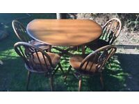 Original Ercol drop leaf table and four chairs, good condition