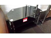 2x Ex-display 3 tier black glass chrome legs tv stand