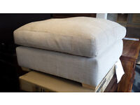 New clearance Large cream fabric soft filled foot stool