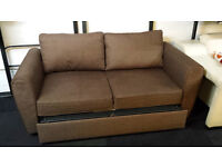 Brown fabric large 2 seater pull out sofa bed