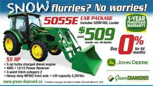 5055E John Deere Tractor, Cab, Loader Winter Package