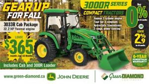 3033R JOHN DEERE COMPACT TRACTOR, LOADER, AND CAB PACKAGE