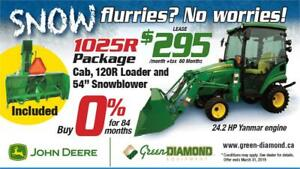 1025R John Deere Tractor, Loader, Cab, & Snow Blower Package