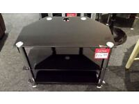 Black glass 3 tier glass TV stand
