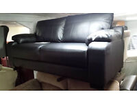 New clearance black leather small 3 seater sofa