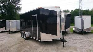 NEW 2017 7X16 EXTRA HEIGHT V-NOSE RAMP DOOR ENCLOSED TRAILERS