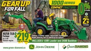 1025R JOHN DEERE COMPACT TRACTOR, LOADER, AND BACKHOE PACKAGE