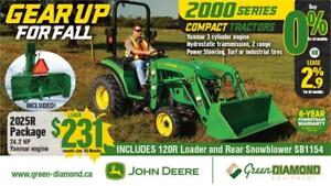 2025R JOHN DEERE COMPACT TRACTOR, LOADER AND SNOW BLOWER PACKAGE