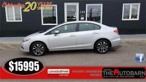 2015 HONDA CIVIC EX SEDAN - AUTO, MOONROOF, ONLY 68,000KM