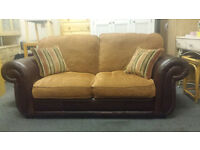 Recon fabric & leather 2 seater pull out sofabed