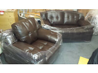 Ex-display brown Leather 2+1 seater