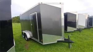 NEW 2019 7X14 V-NOSE EXTRA HEIGHT RAMP DOOR IN CHARCOAL COLOR