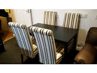New clearance black wood dining table + 4 velour fabric chairs